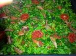 Coca de verduras con unos pocos lectarius sangiflus, niscalos.