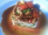 Lomo de cerdo agridulce con verduras