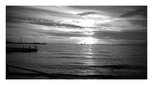 Puesta de sol en la playa de Palma
